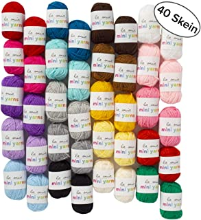 40 Skein Premium Acrylic Mini Yarn, Total 16.2 Oz Each 0.35 Oz (10g), Fine, Sport Assorted Colors Yarn