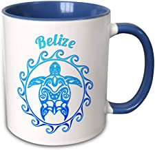 Macdonald Creative Studios – Belize - A Ocean Blue Tribal Turtle For The Beautiful Beaches Of Belize - Two-Tone Blue Mug Funny Gift for Christmas 11 oz