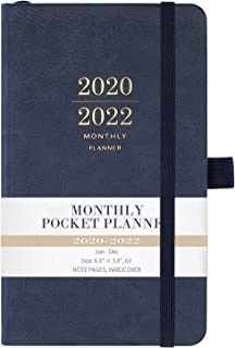 """2020-2022 Monthly Pocket Planner - Three Year Pocket Monthly Calendar, 36 - Month Planner with Pen Hold, 6.3"""" � 3.8"""", Jan 2020 - Dec 2022, Elastic Closure, Page Divider, Inner Pocket, Thick Paper"""