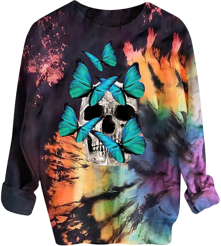 Halloween Sweatshirts for Women Casual Crewneck Long Sleeve Pullover Blouse Trendy Reverse Tie Dye Rainbow Sweatshirt