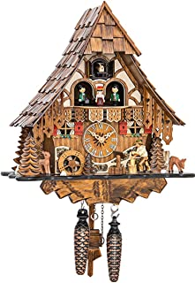 Reloj cucú de cuarzo Casa de la selva negra con leñador y
