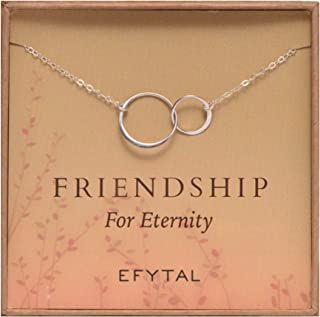 Best Friend Gifts, Sterling Silver Friendship for Eternity Necklace, Two Interlocking Infinity Circles Gift For Best Friend