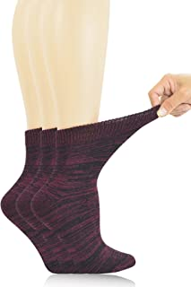 Women's 3 Pairs Bamboo Non-Binding Quarter Thick Warm Winter Socks with Seamless Toe and Full Cushion