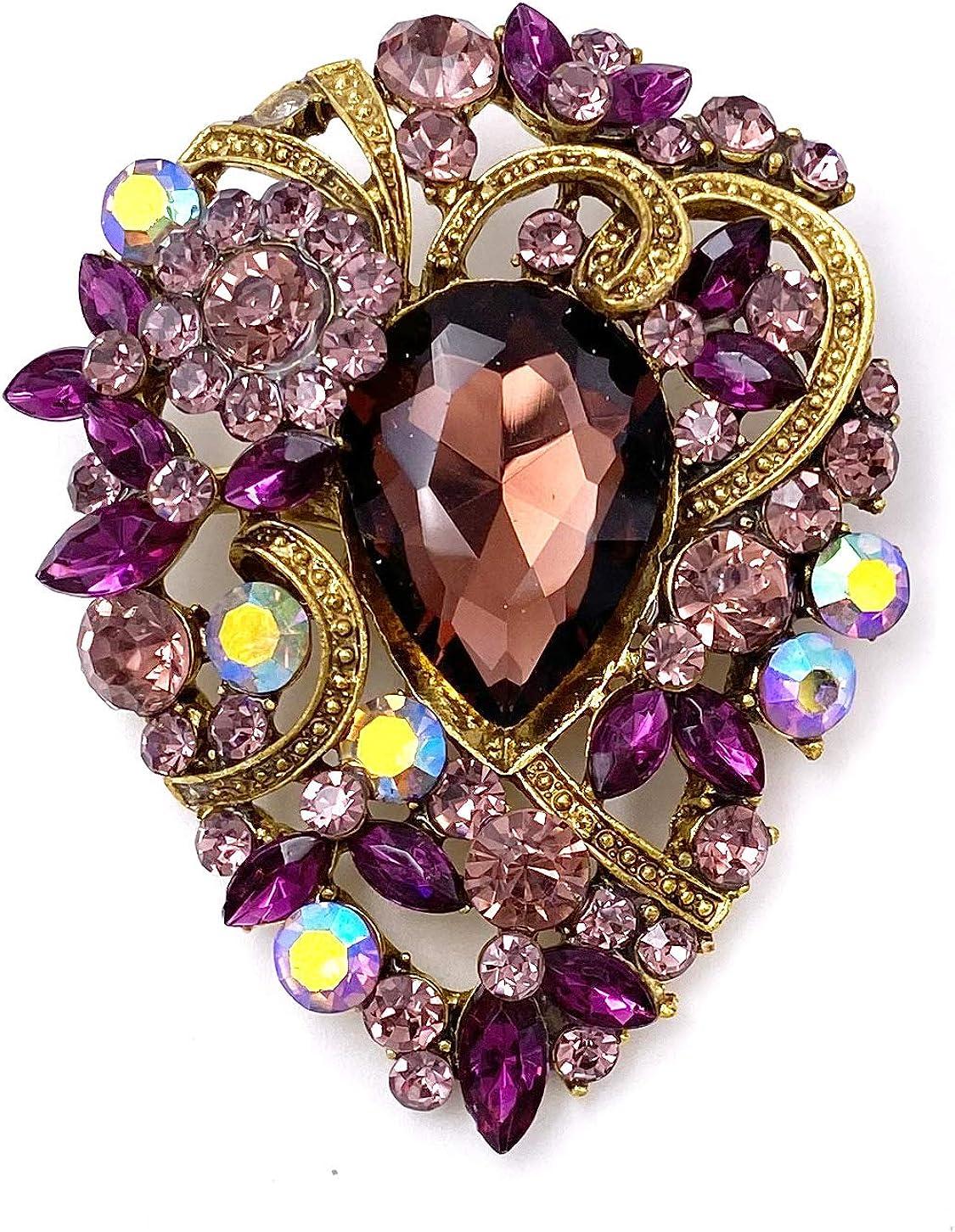 LAXPICOL Women's Vintage Austrian Crystal Elegant Flower Teardrop Brooch Gold Tone