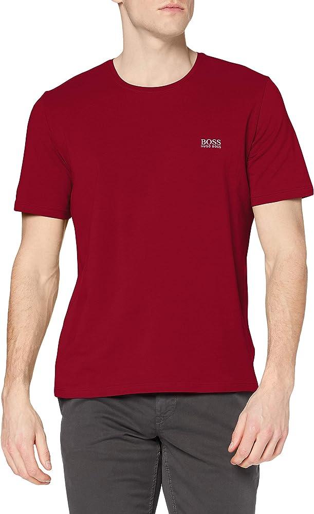 Hugo boss mix&match t-shirt, maglietta per uomo a maniche corte, 95% cotone, 5% elastan, DARK RED1 50381904