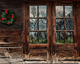AOFOTO 10x8ft Vintage Wooden Door Photography Background Christmas Wreath Backdrops Old Rustic Cabin 2020 New Year Xmas Kids Adults Portrait Photo Studio Props Video Drape
