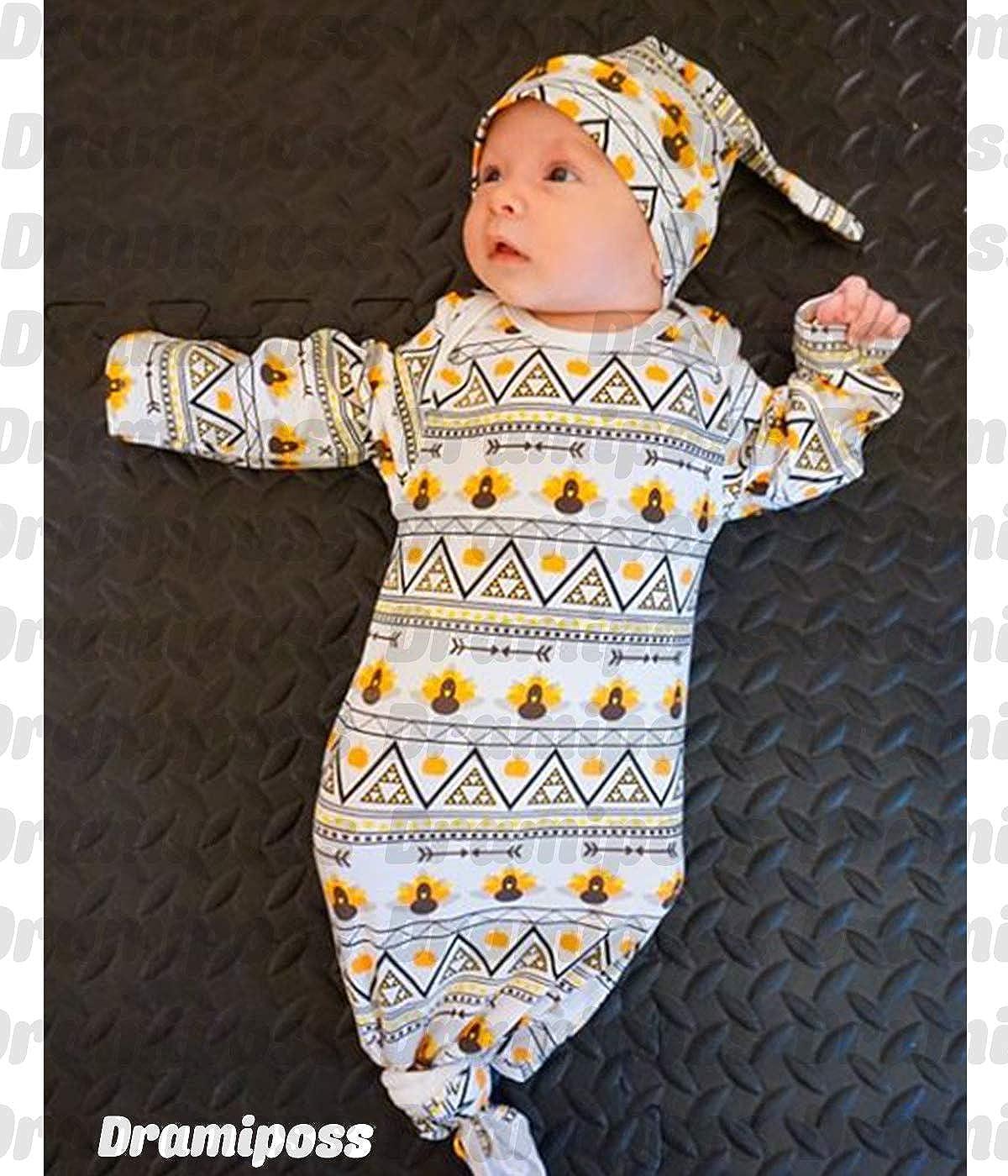 Dramiposs 3Pcs Newborn Baby Boys Girls Knotted Nightgown Cotton Sleepwear (White,3-6 Months)