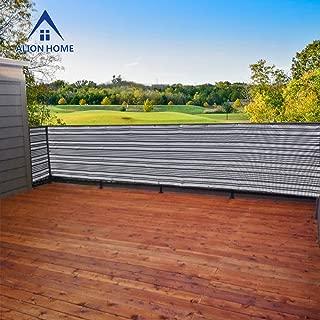 ALION HOME Elegant Privacy Screen Mesh for Pool, Patio, Deck, Balcony Railing, Fence. (35''X 10', Dark Grey/White)