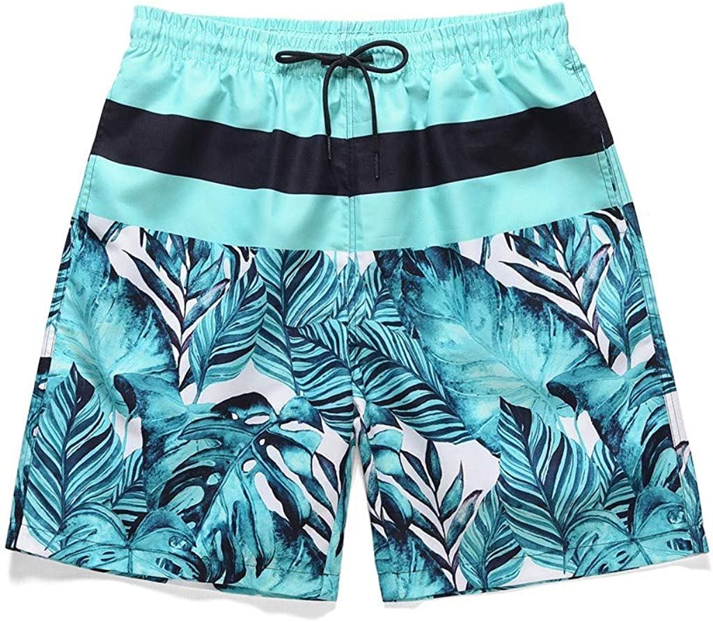 DIOMOR 2020 Mens Fashion Floral Drawstring Swim Trunks with Mesh Lining Above The Knee Beach Shorts Pockets Quick Dry