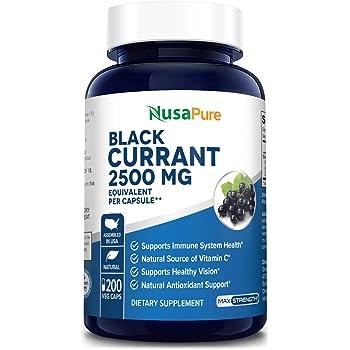 Black Currant Oil 2500 Mg 200 Veggie Capsules (Powder, Vegan, Non-GMO & Gluten-Free) .Supports Immune System Health*