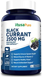 Black Currant Oil 2500 Mg 200 Veggie Capsules (Powder, Vegan, Non-GMO & Gluten-Free) .Supports Immune Syste...