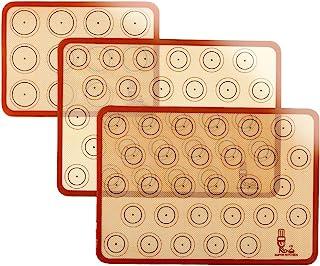 SUPER KITCHENマカロン クッキー シートクッキングマット 3枚セット 食品級シシリコン 製菓マット キッチン パン/クッキー/ピザ ベーキングマット オーブン 電子レンジ 対応 耐熱 プレースマット (レッド, 42x29.5cm、...