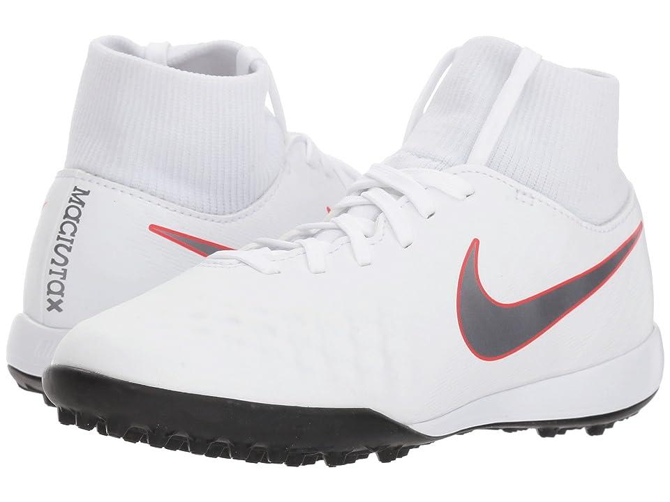 Nike Kids Jr. Magista ObraX 2 Academy Dynamic Fit TF Soccer (Little Kid/Big Kid) (White/Metallic Cool Grey/Light Crimson) Kids Shoes