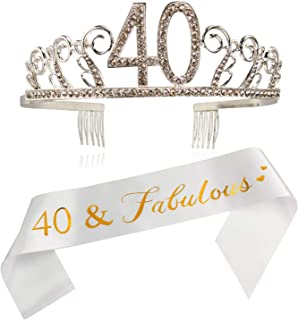 40th Birthday Sash and Tiara- 40 & Fabulous Gold Satin Sash and Crystal Tiara Birthday Crown for 40th Birthday Party Supplies and Decorations/W