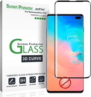 Galaxy S10 Plus Screen Protector Glass, amFilm Full Cover (Not Fingerprint Scanner Compatible) Tempered Glass Screen Protector Film with Dot Matrix for Samsung Galaxy S10+ (Black)
