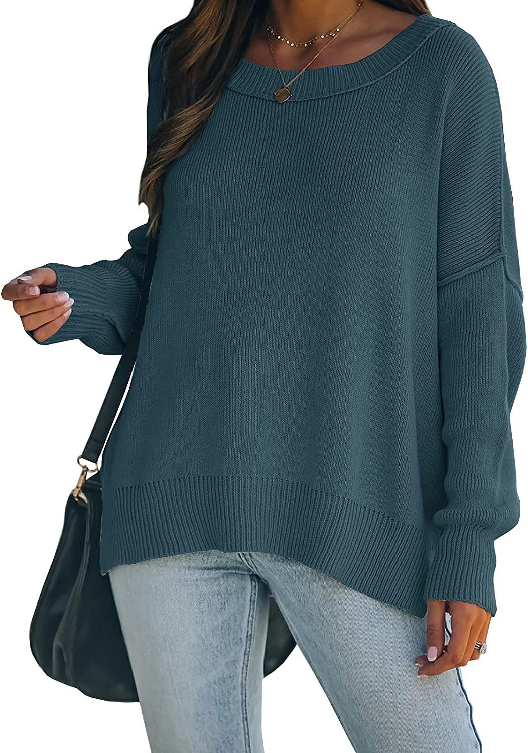 Wenrine Womens Oversized Sweaters Boat Neck Long Sleeve Side Slit Casual Knit Pullover Sweater Tops