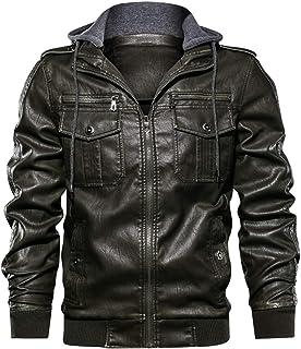 Men's Vintage Removable Hooded Moto Distressed Pu Leather Bomber Jacket