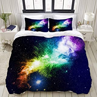 """Mokale Bedding Duvet Cover 3 Piece Set - Galaxies and Stars - Decorative Hotel Dorm Comforter Cover with 2 Pollow Shams - Queen 90""""x90"""""""