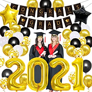 2021 Graduation Decorations, 2021 New Years Decorations, 2021 Balloons, Black and Gold Graduation Balloons Banner Gl, Gift...