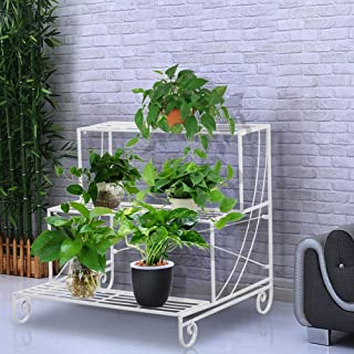 Yaheetech 3 Tiers Metal Potted Plant Stand Indoor Outdoor Floor Pot Holder Garden Flower Rack White
