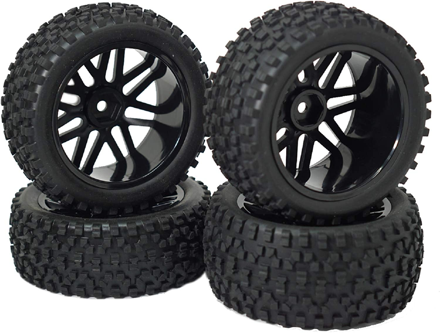 Vgoohobby 12mm Hex Wheel Rims Mesh Tires safety with Rubber Spong half Shape