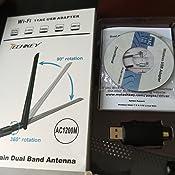 USB WiFi 1200Mbps Techkey Adaptador WiFi USB 3.0 802.11ac Antena WiFi USB con Doble Banda 2.42GHz/300Mbps 5.8GHz/866Mbps 5dBi Antena de Alta Ganancia ...