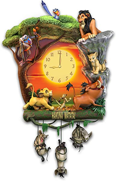 The Bradford Exchange Disney The Lion King Hakuna Matata Wall Clock With Music And Light Up Clock Face