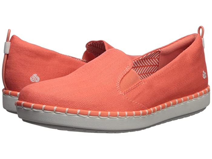 Clarks  Step Glow Slip (Coral Canvas) Womens Slip on  Shoes