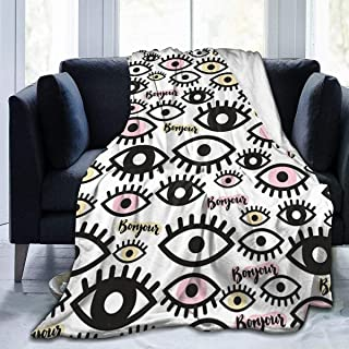 Flannel Plush Custom Throw Blanket, Eyes Eyelashes and France Greetings Visual Art Graphics Throw for Better Relaxing Couch Decorative, Ultra Soft and Large Washable 50 x 40 Inch