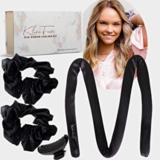 Heatless Hair Curlers No Heat -100% Silk Heatless Curling Rod Headband with 2 Scrunchies and 1 Hair Clip | Authentic Grade...