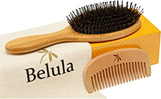 Detangler Boar Bristle Hair Brush - Set for Thick, Long and Curly Hair. Wet Brush Detangling. Restores Shine and Texture to Your Hair. Wooden Comb, Travel Bag & Spa Headband Included