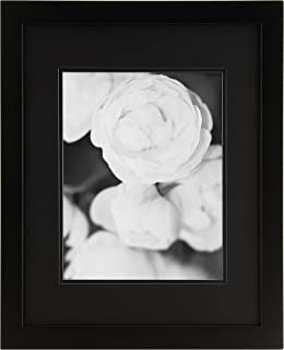 GALLERY SOLUTIONS 16x20 Flat Black Wall Picture Frame with Double Black Mat For 11x14 Image