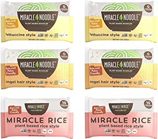 Miracle Noodle Pasta & Rice Variety Pack – Fettuccine & Angel Hair Plant..