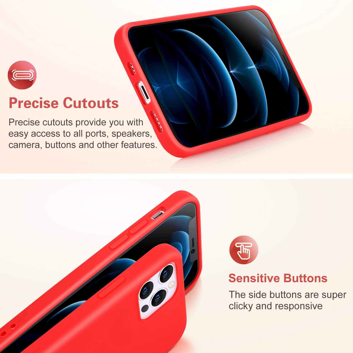 Pofesun 5 Pack Silicone Case Compatible with iPhone 12/iPhone 12 Pro, Slim Gel Rubber Full Body Protection Shockproof Case Cover for iPhone 12 / iPhone 12 Pro 6.1 inch-Black,Red,Yellow,Rose,Lake Blue