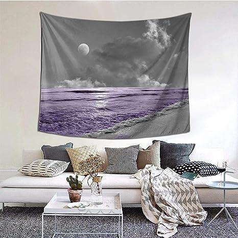 Black White Purple Palm Beach Ocean Moon Coastal Bedroom Bathroom Wall Art