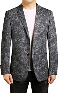 YOUTHUP Mens Prints Lightweight Blazer 2 Button Casual Slim Fit Suit Jacket Formal Outwear Blazers