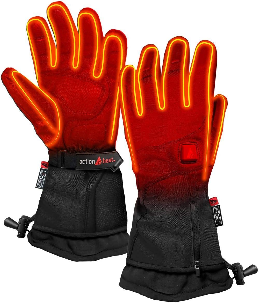 ActionHeat 5V Premium Heated Gloves – Women, Battery Heated Gloves w/ 3 Heat Settings, Extended Gauntlet, Touch Control, Rechargeable Electric Gloves
