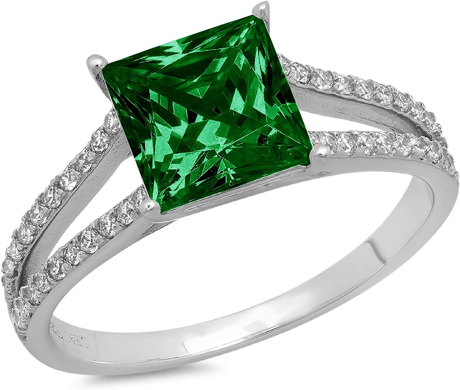 2.39ct Princess Cut Solitaire with shank S Accent Finally Excellence popular brand Flawless split