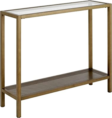 """Henn&Hart Industrial Glass Sofa Perforated Metal Storage Shelf for Living Room, Narrow Entryway Brass Console table, 36"""", Gold"""