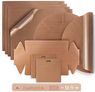 Amazy Papel de Horno Reutilizable (9 unids.) - Papel para horno resistente, antiadherente y apto para lavavajillas. Incl. 4x papel cuadrado, 2x papel redondo, 2x papel tostadora y 1x bandeja hornear