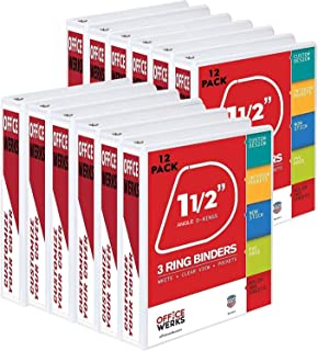 3 Ring Binders, 1.5 Inch Angle D-Rings, White, 12 Pack, Clear View, Pockets