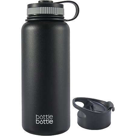 水筒 1000ml ステンレス 真空断熱 持ち手付き 2点フタ付き 直飲み 大容量 保温保冷 スポーツボトル スポーツウォーターボトル アウトドア bottlebottle ブラック