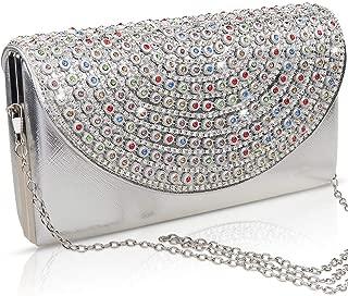 Women's Evening Clutch Bag, VEYIINA NERO Multicolor Rhinestone Handbag Purse for Wedding Prom Night Party