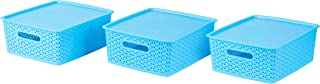 Basicwise QI003214M.3 Blue Medium Plastic Storage Container with Lid, Set of 3