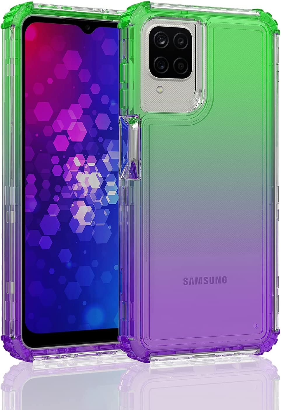 Shinewish Cell Phone Case for Samsung Galaxy A12 5G, 3 in 1 Heavy Duty Shockproof Bumper Full Edge Hybrid Cover for Women Girls Men, Green/Purple Gradient