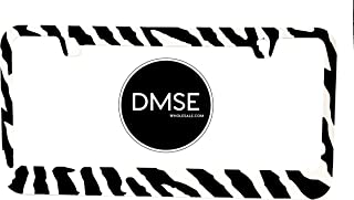 DMSE Zebra Black and White Stripes Animal Print Universal Metal License Plate Frame Cool Decorative Design For Any Vehicle (Zebra)