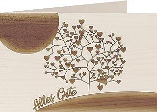 myZirbe Träkort – allt gott – träd med hjärtan – 100 % handgjorda i Österrike – vykort, presentkort, gratulationskort, fol...