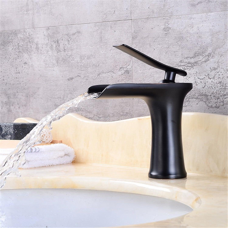 Yuyu19-SLT Bathroom Taps Mixer Mono Basin Mixer Tap Sink Faucet All copper waterfall black antique, black ancient short