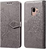 FNBK Kompatibel mit H�lle Samsung Galaxy S9 Handyh�lle Mandala Schutzh�lle Grau Flip Tasche Leder Bookstyle Lederh�lle Slim Handytasche Wallet Stand Kredit Kartenf�cher Magnetverschluss