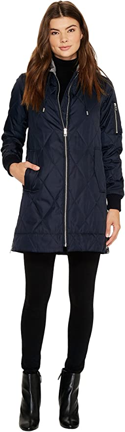 Vince Camuto Quilted Bomber Jacket with Removable Hood N8591